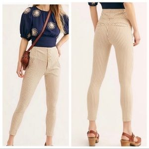Free People Frankie 8 Tan & White Ankle Skinny High Rise 4 Button Striped Pants